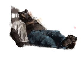 Laying bear by racoonwolf