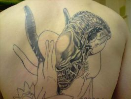 alien tattoo progress 2 by DREAMandDIFFER