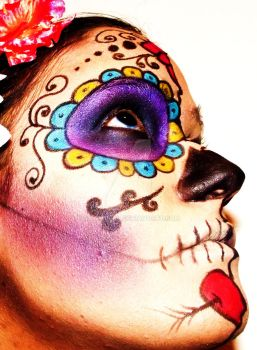 Dia de los Muertos make-up side 1 by GrimMercy