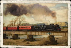 JA1271 crossing the Otaki River by CouchyCreature