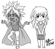 YGO chibis: YM and Ryou by Puffsan