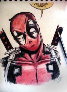 Deadpool - Ballpoint pen and watercolors by Musiriam