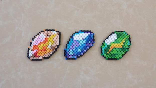 Fire/Water/Thunder Stones - Perler Bead Sprites by MaddogsCreations
