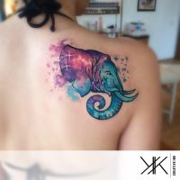 elephant with nebula by koraykaragozler