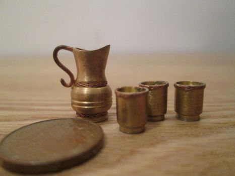 Brass Pitcher And Cups by AtriellMe