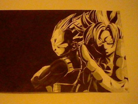 Goku and Vegeta charcoal and graphite traditional by zambiteer