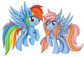 Golden Sapphire And Rainbow Dash by SparklySpectrum