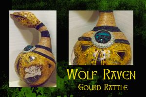 WOLF RAVEN GOURD RATTLE by SCT-GRAPHICS