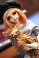 Charlie and her cat by cuppycakeashley