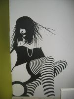 Striped Girl on wall by Kinglouis