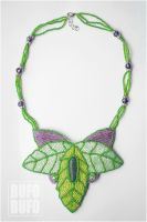 The Garden of Amazonite : embroidery necklace by psihoze