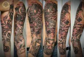 New School Armsleeve tat prog. by 2Face-Tattoo
