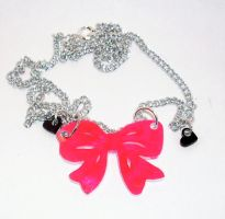 HOT pink Bow necklace by lovecute
