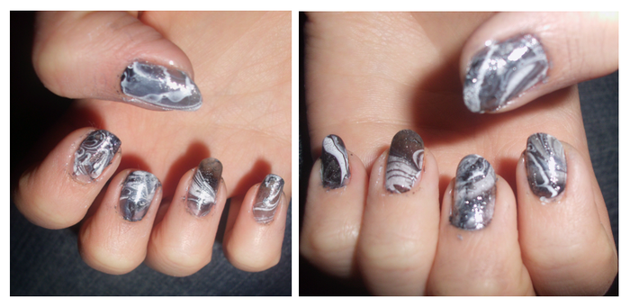 water marbled nails by Shanster2
