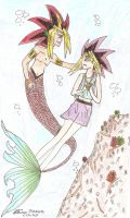 Yugi meets Yami the merman by YamiSorceress