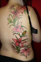 floral back piece by SimplyTattoo