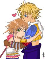 Chibi Yuna and Tidus by hellohaylee