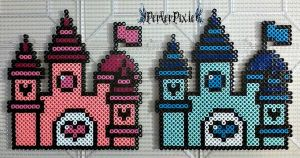 Pink Pearl and Sapphire Castles by PerlerPixie