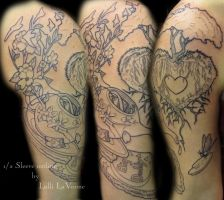 Teapot Tree Birds Sleeve outline by lavonne