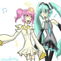 Amu and Miku singing by HezuNeutral