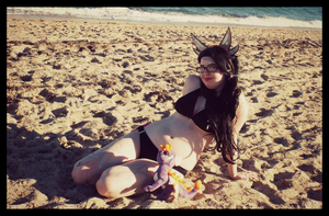 At the Beach With Spyro (Cynder Cosplay) by KrazyKari