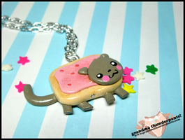 Mini Nyan Cat Necklace by GrandmaThunderpants