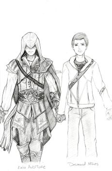 Ezio and Desmond by Kurysu