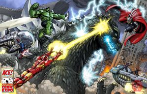 The Avengers VS Godzilla by KaijuSamurai