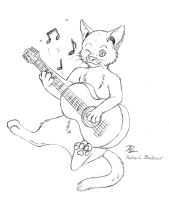 Cat Playing Guitar - Lineart/WIP by Dragon-Art14