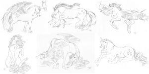 Sketch : The mane six and their pets by MiidniightSuun