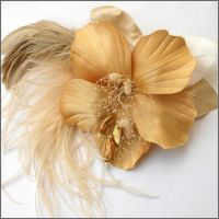 Golden Hibiscus Hairpiece by tracyholcomb