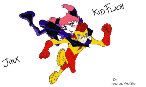Jinx and Kid Flash by Dadethethird