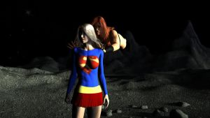 Nucleargirl sneak attacks Supergirl by rustedpeaces