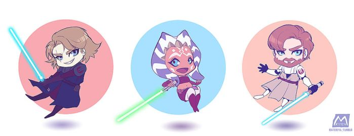 The Clone Wars chibis by Matereya