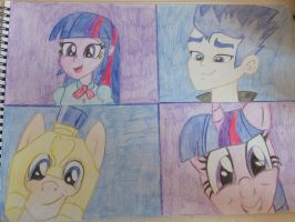 Flash Sentry and Twilight Sparkle collage drawing  by Magdahorses