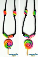 Rainbow Lollipop Candy Pendant with Rainbow Beads by Dabstar
