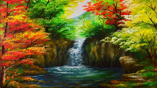 Water Falls In Autumn Forest by beejay-artlife12