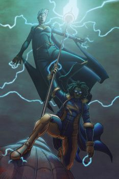 Storm and Static Shock by BenBrush
