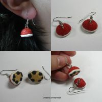 Red Shell Earrings by ChibiSilverWings