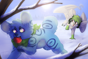 Running in the snow by CreepyCutefury