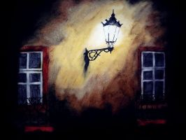 Pastel sketch 28:The Street Light On Linda Avenue by CpointSpoint