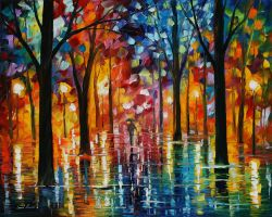 Rain of fire oil painting by Leonid Afremov by Leonidafremov