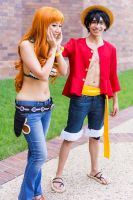 Luffy Praises Nami: One Piece Time Skip Cosplay by firecloak