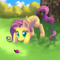 Fluttershy and the little bug by Vulpeca