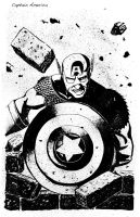 Captain America inks by ZhouRules