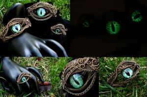 Steampunk Gothic Green Dragon Eye Bronze Wire Set by LadyPirotessa