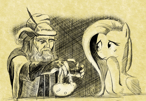 Radagast and Fluttershy by sirustalcelion