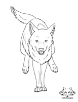 Free Lineart_Running Wolf by Cristaleyes