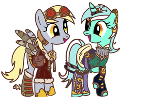 Derpy and Lyra (Steam-Punk) by JadeMikuMiku