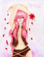Megurine Luka-Red Flower by Lexis-XIII